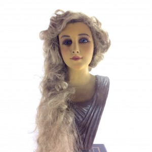 Extremely rare French Art Nouveau wax mannequin bust in wonderful original condition, beautifully painted facial features with no cracking to wax.