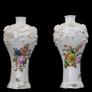 Pair of Chinese flower-encrusted vases, decorated in London at the James Giles Studio, 18.5cm, c. 1755.