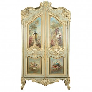 Painted French armoire; the panels are painted by an artist listed in Benezit , signed 'J Godon' and painted 1883; they are well above the normal 'painted furniture' quality, very refined in fact.
