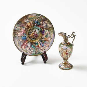 Gilded silver Viennese enamel ewer and plate, c. 1900.