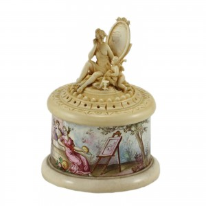 Ivory Enamel Austrian box 18th century Austrian round enamel box with hand carved ivory lid