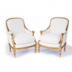 Set of four exceptional 19th century English gilt-wood salon chairs stamped 'C. Mellier & Co', and includes a pair of burgers and a pair of fauteuil. The upholstered backs carved with flowers and leaves, the arms carved with acanthus leaves. The upholstered seats are supported by well turned fluted legs joined by rails carved with scrolls. Circa 1850. Footnote: Charles Mellier was one of the leading English furniture makers of the 19th century - a Frenchman who established himself as a cabinetmaker and dealer to the affluent in London, and exhibited at the St Louis International Exhibition in 1904. Mellier was commissioned to furnish Grosvenor Square for James Miller and the liner, Mauretania in 1907. His premises, located in Albermale St, Mayfair are now home to 'The Mellier' hotel. Mellier's pieces are still highly sought after a century on.