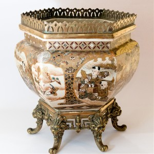 Satsuma Jardiniere mounted on original bronze base, Meiji period.