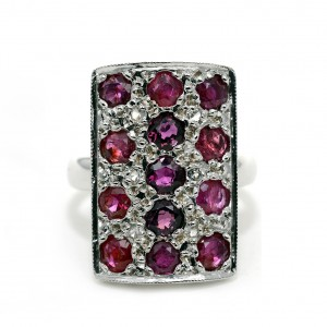 15ct White Gold, 13 Rubies and 6 Diamonds, c. 1930's.