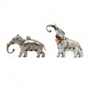 Silver Elephant Perfume Bottle. Ivory and Silver Tester, Ivory Tusks. Stones Set, c. 1890