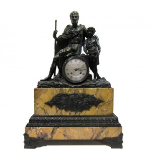 French figured Bronze and Sienna marble mantle clock with bronze moulding and feet. The silvered dial is signed Edouard Martin Rue Amelot . The 8 day movement features a silk suspension and strikes on a bell, c. 1830.