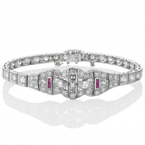 Art Deco diamond and ruby bracelet c. 1930.