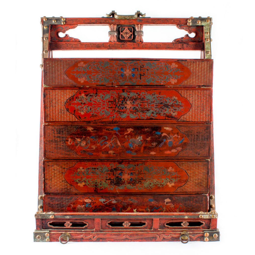 Antiquarian (Elizabeth Syber) Qing Dynasty Marriage Chest Painted and Lacquered wood drawers. Wood and Patinated Metal frame and supports. Circa 1870. H 112cm, W 79cm.