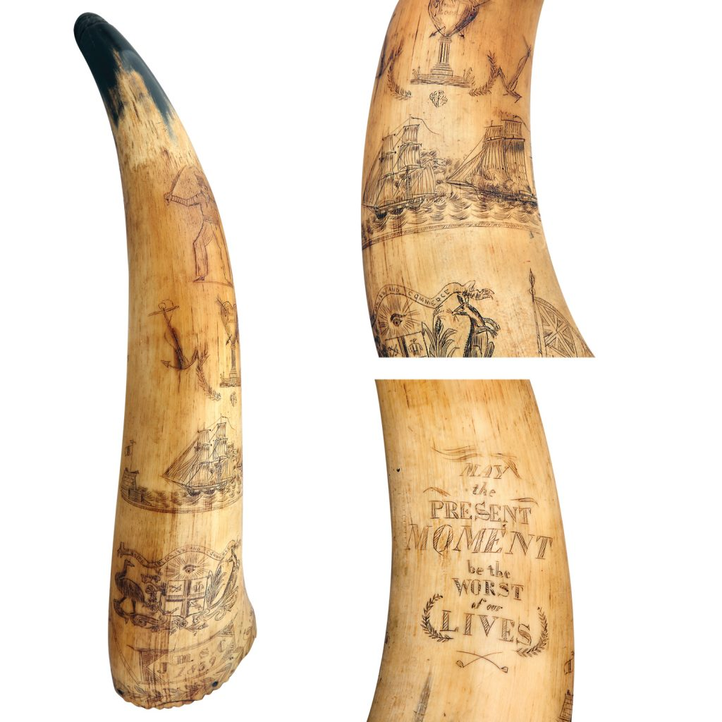 A rare Australian scrimshaw worked Maritime Powder Horn depicting various scenes and phrases. Including an unofficial Australian Coat of Arms with the motto Ships Colonies and Commerce, two ships engaged in conflict also an ornate quotation May the Present moment be the worst of our Lives. Inscribed with the initials J.M.S.C. and the date 1839.