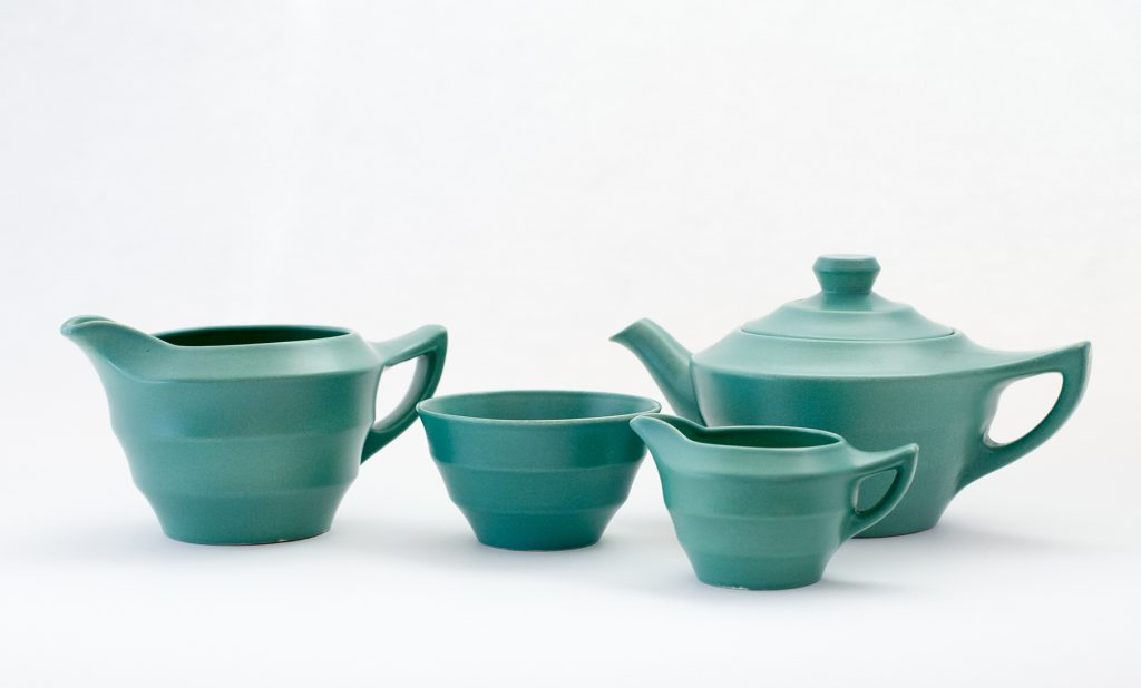 Wedgwood Keith Murray design matte green glaze tea set, circa 1930.