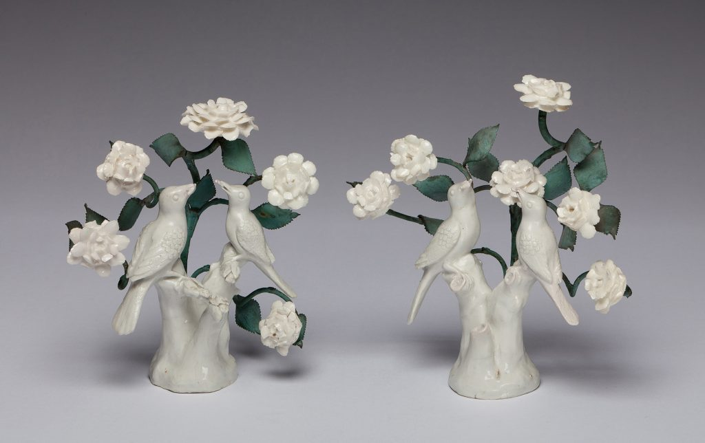 "Etruria Antiques Gallery Bow Porcelain Pair of Birds in Branches, 8"" high, circa 1749. From the Barry & Joan Taylor Collection."