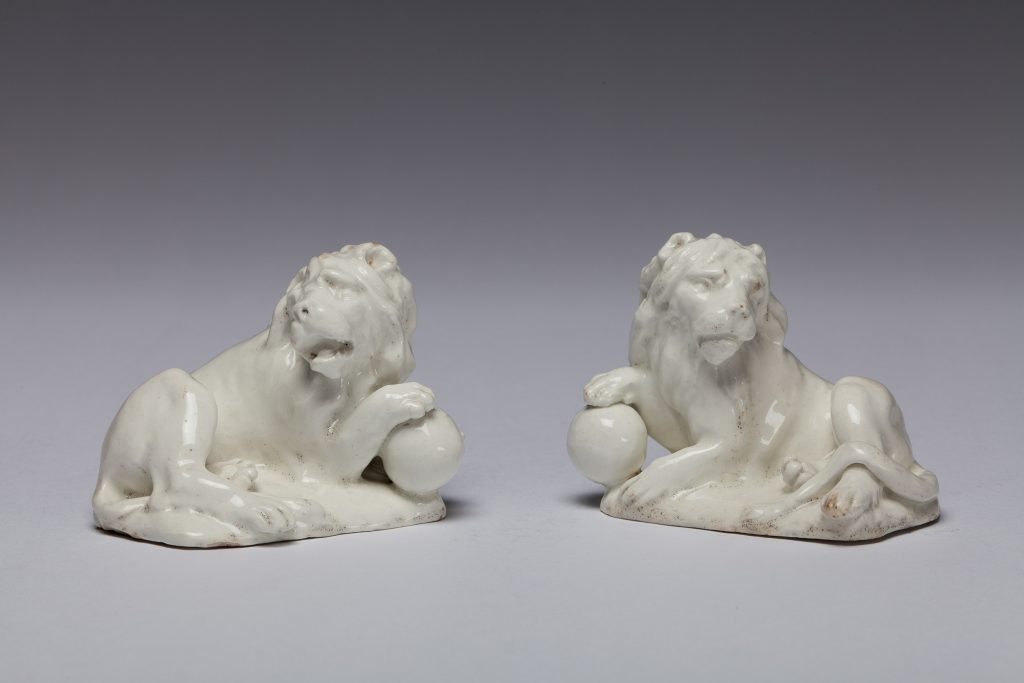 "Etruria Antiques Gallery Bow Porcelain Pair of Lions, 4"" wide, circa 1750. From the Barry & Joan Taylor Collection."