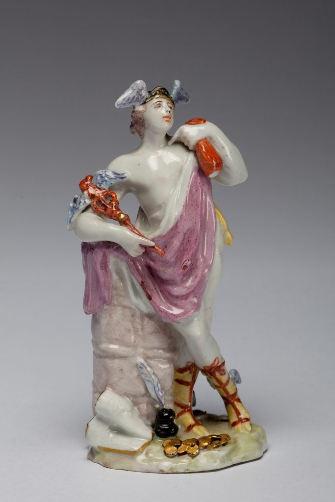 "Etruria Antiques Gallery Bow Porcelain Mercury, Messenger of the Gods and God of Commerce. 7"" high, circa 1748, by The Muses Modeller. From the Barry & Joan Taylor Collection."