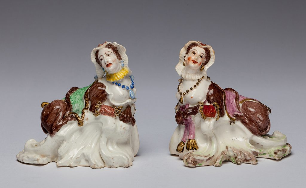 "Etruria Antiques Gallery Bow Porcelain Two sphinxes, the face being taken from Peg Woffington, a famous actress of the period. 4.7"" wide, circa 1748. From the Barry & Joan Taylor Collection."