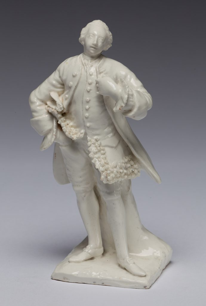 "Etruria Antiques Gallery Bow Porcelain David Garrick, the Shakespearean actor. 8.25"" high, circa 1750. From the Barry & Joan Taylor Collection."
