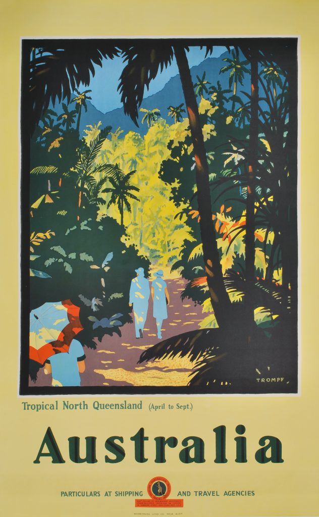 "Josef Lebovic Gallery Trompf, Percy Australia. Tropical North Queensland, c1935. Colour lithograph, signed in image lower right, 101.8 x 63.8. Minor repaired tears to lower edge. Linen-backed. Price $7,700 Text continues ""(April to Sept.) Particulars at shipping and travel agencies. 435A Collins St, Melbourne, Australia. Grand Buildings, Trafalgar Sq., London. 114 Sansome Street, San-Francisco [sic] USA. Moore-Young Litho. Co. Melb. Aust."" Held in NGA."