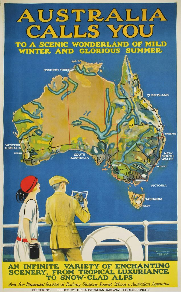 "Josef Lebovic Gallery Australia Calls You, c1924. Colour lithograph with travel guide, 98.9 x 61.4cm. Repaired minor perforation to image lower right. Linen-backed Price $7,700 Text continues ""To a scenic wonderland of mild winter and glorious summer. An infinite variety of enchanting scenery, from tropical luxuriance to snow-clad alps. Ask for illustrated booklet at railway stations, tourist offices & Australian agencies. Poster no. 1 issued by the Australian Railways Commissioners. Waite & Bull Printers, Sydney."" ~A small quarto, 64-page travel guide, covering major points of interest in Australia, accompanies this poster, which is also illustrated on its front cover. This slightly variant image includes the artist's name ""Allan M. Lewis"" and date ""1924."""