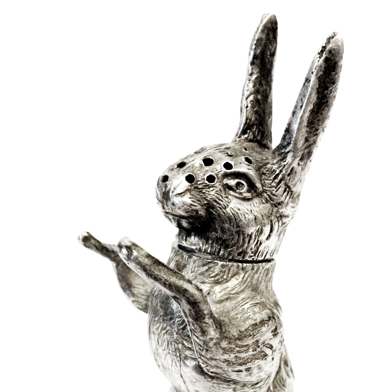Lafite Fine Silver An Edwardian novelty silver pepperette, modelled in the form of a hare. Made by Grey & Co, Birmingham , 1905.
