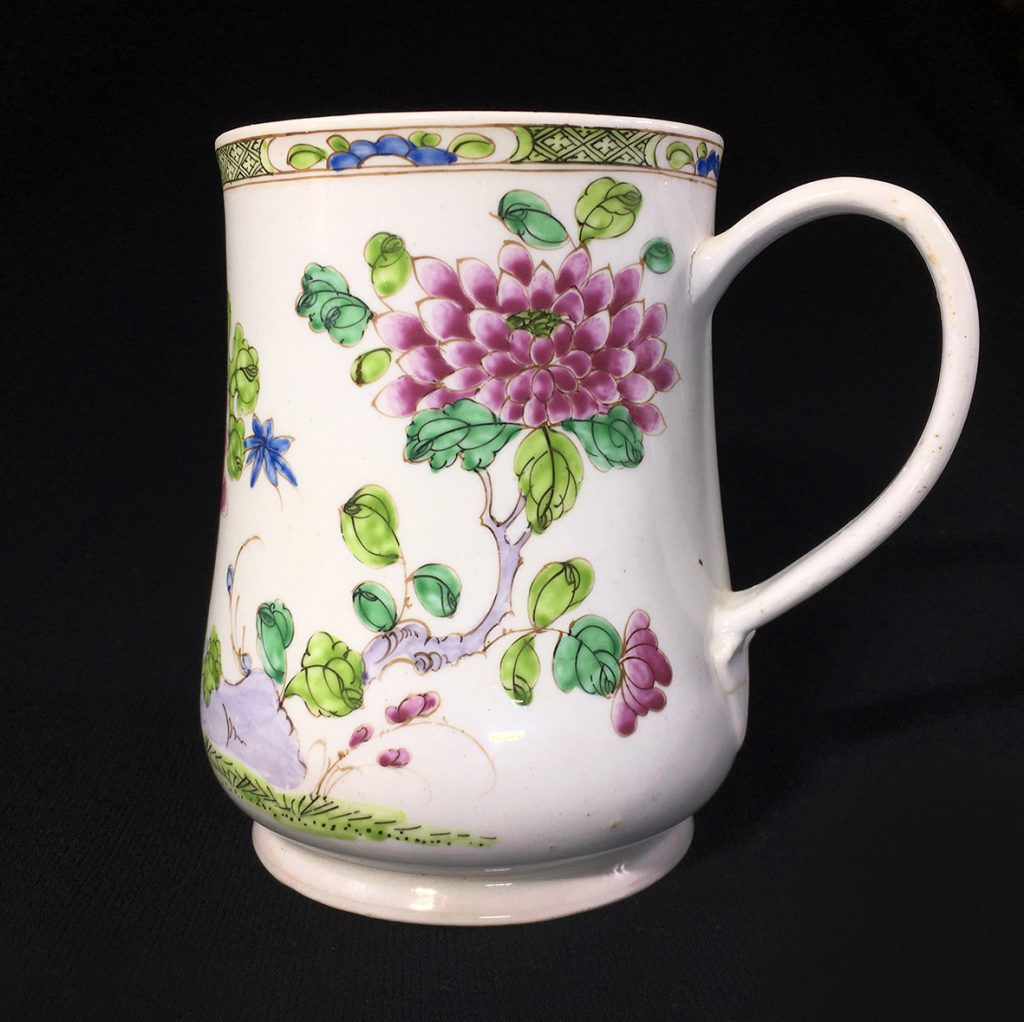 Moorabool Antiques Large Bow tankard of baluster shape, superbly painted with large scale famille rose peonies & rocks, beneath a narrow foliate border. Unmarked, circa 1760.