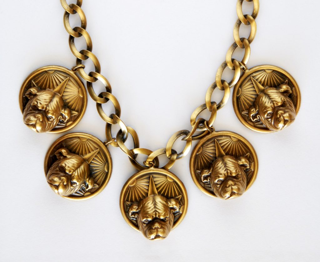 Circa Collectables Joseff of Hollywood Bull dog necklace, circa 1940, USA.