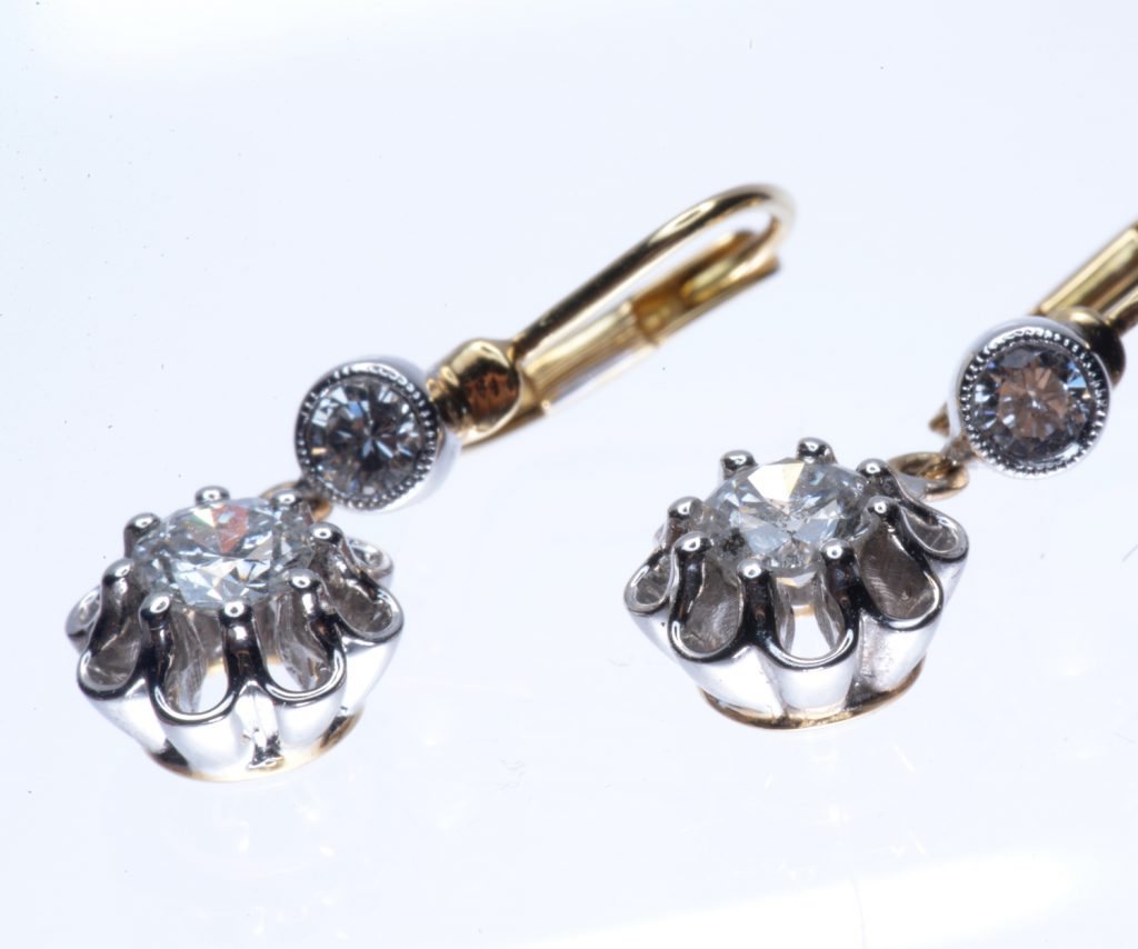 Jennifer Wren Antiques 18ct Gold Diamond Drop Earrings