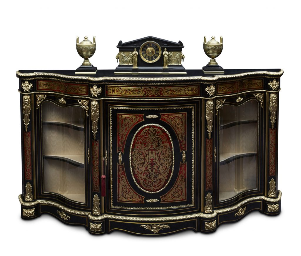 Valentine's Antique Gallery Impressive 19th Century French Ebonised and Boulle 3 Door Serpentine Credenza, c. 1870