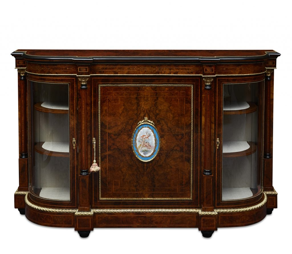 Valentine's Antique Gallery Fine Quality 19th Century English 3 Door Burr Walnut Credenza, Sevres Style Hand-Painted Panel, c. 1870